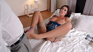 In gorgeous lingerie, Ava Koxxx fucked and collects cum on her sexy feet